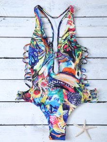 Plunge Abstract High Cut One-Piece Swimwear - Blue