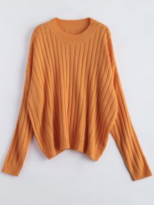 Rib Oversized Dolman Jumper - Orange