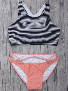 Striped High Neck Cutout Bikini Set