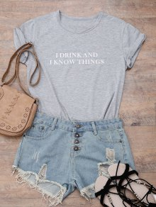 Short Sleeve Letter Boyfriend T-Shirt - Gray