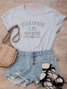 Short Sleeve Letter Print Boyfriend T-Shirt