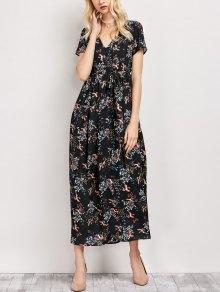 Tiny Floral V Neck Maxi Dress - Black