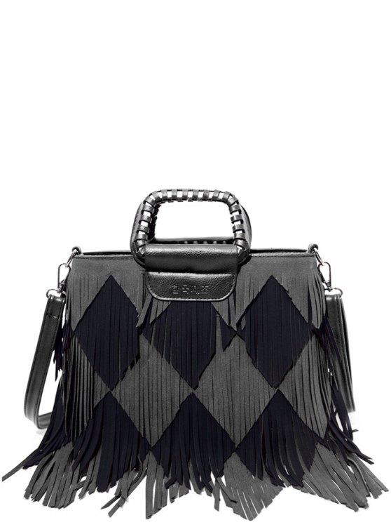 Color Blocking Multi Fringe Handbag - BLACK AND GREY  Mobile