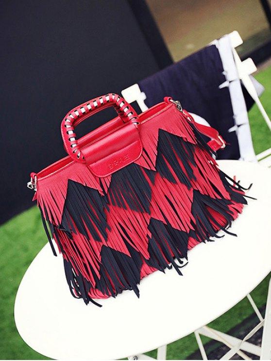 Color Blocking Multi Fringe Handbag - RED WITH BLACK  Mobile