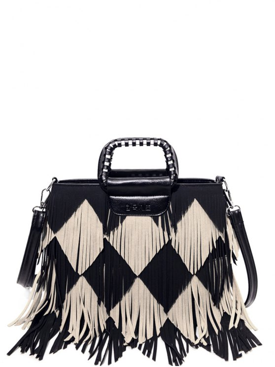 Color Blocking Multi Fringe Handbag - BLACK  Mobile