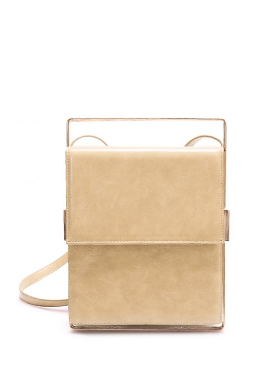 Metal Trimmed Minimal Crossbody Bag -   Mobile