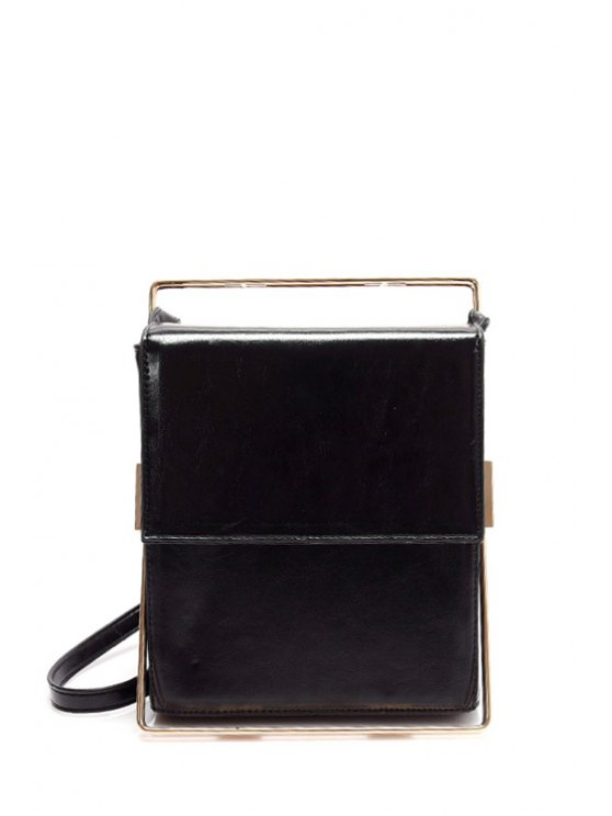 Metal Trimmed Minimal Crossbody Bag - BLACK  Mobile