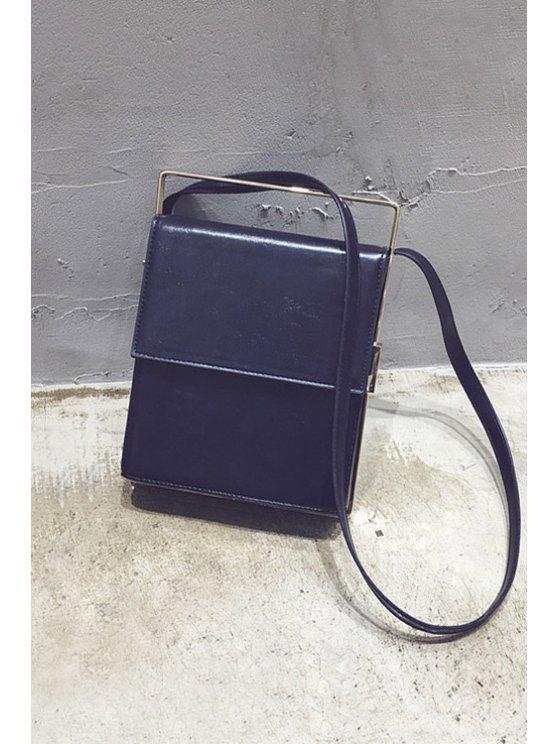 Metal Trimmed Minimal Crossbody Bag - PURPLISH BLUE  Mobile