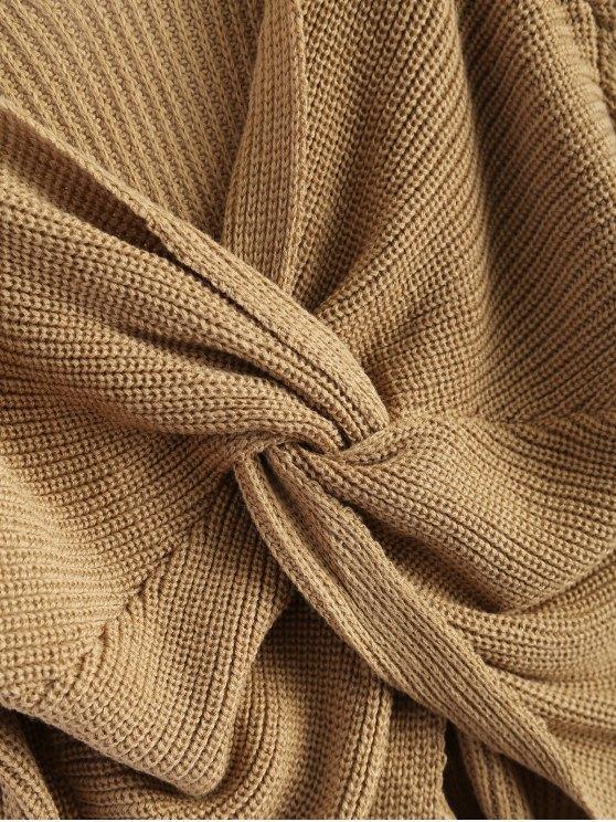 V Neck Twisted Back Sweater - KHAKI ONE SIZE Mobile