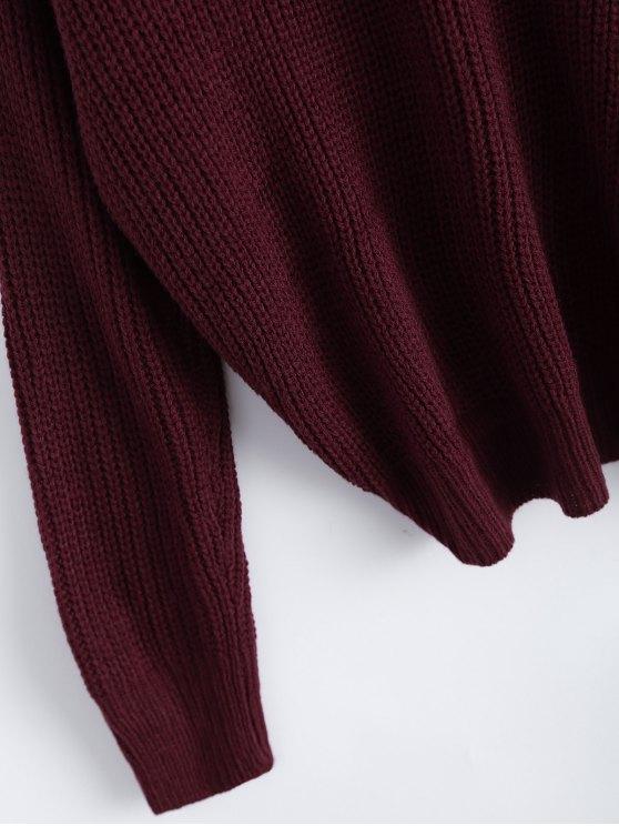 V Neck Twisted Back Sweater - BURGUNDY ONE SIZE Mobile