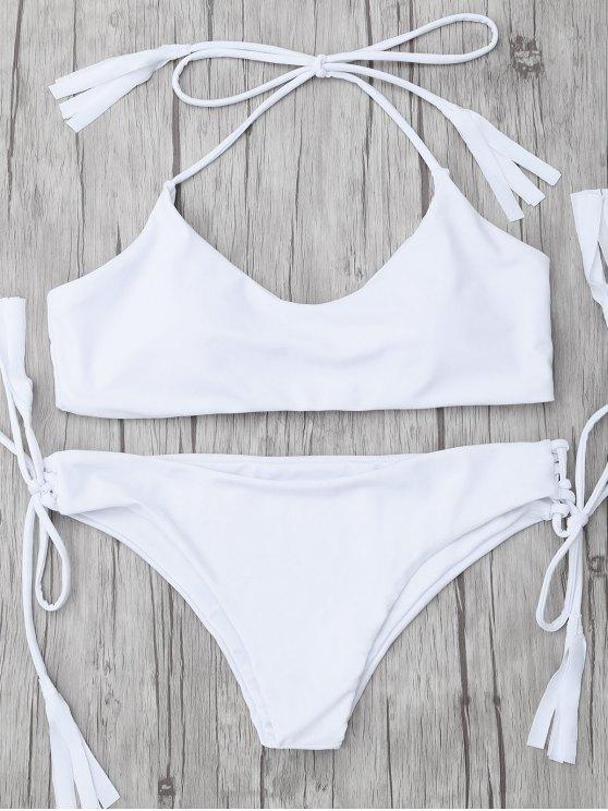 affordable Tasselled Halter Bikini Set - WHITE S
