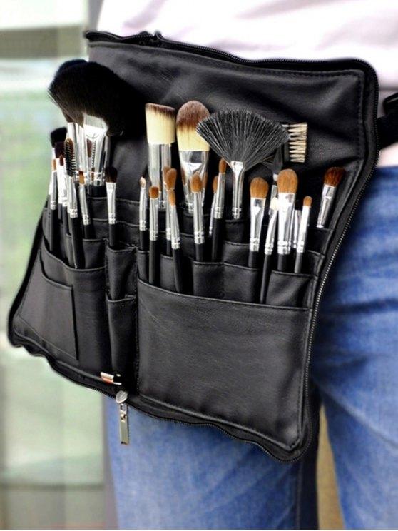 Animal Hair Makeup Brushes Kit - BLACK  Mobile