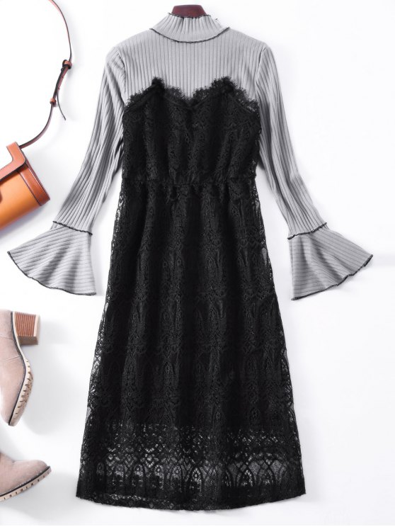 Flare Sleeve Lace Panel Midi Dress - GRAY ONE SIZE Mobile