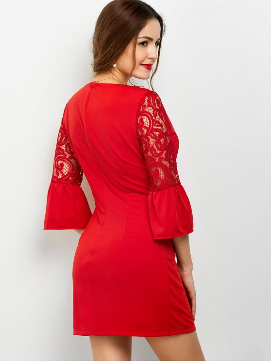 Lace Panel Flare Sleeve Party Wear Dress For Women - RED XL Mobile