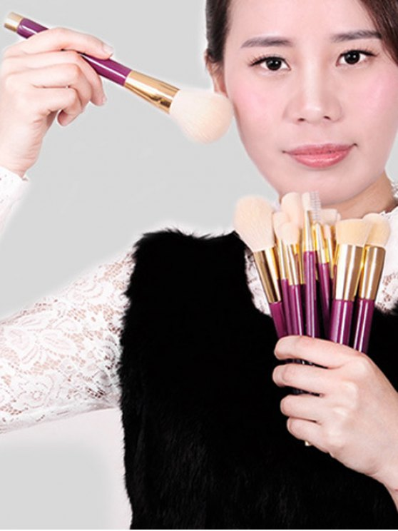 Goat Hair Makeup Brushes Kit - PURPLE  Mobile