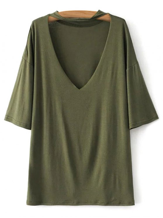 V Neck Choker Strap Tee - ARMY GREEN M Mobile