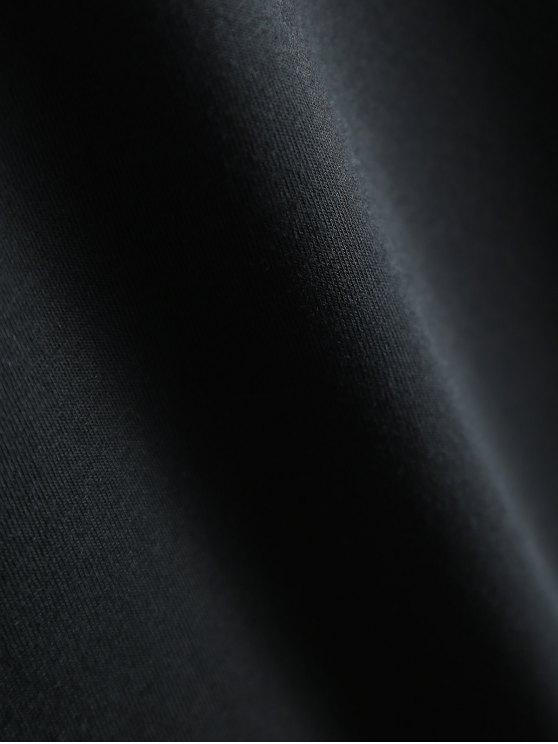 Short Sleeve Letter Pattern T-Shirt - BLACK XL Mobile