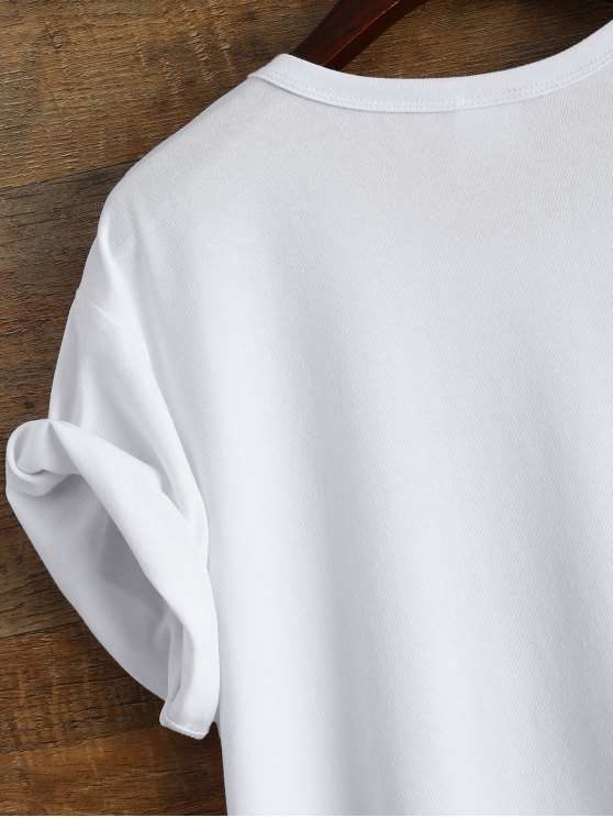 Short Sleeve Letter Boyfriend Streetwear Tee - WHITE S Mobile