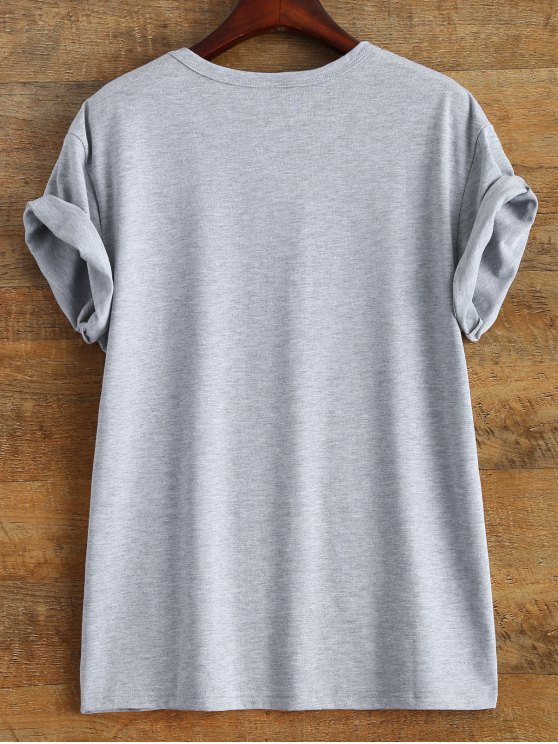 Short Sleeve Text Print Tee - GRAY M Mobile