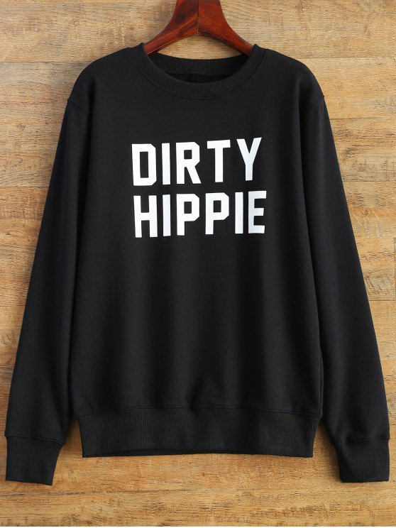 Letter Dirty Hippie Print Sweatshirt - BLACK L Mobile
