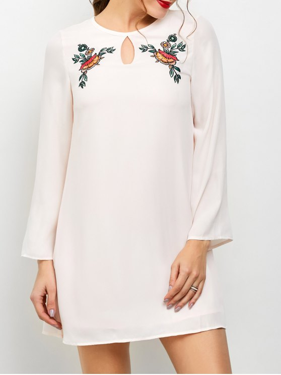 Long Sleeve Chiffon Tunic Dress - LIGHT PINK M Mobile