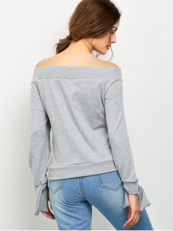 Tied Off Shoulder Sweatshirt - GRAY S Mobile