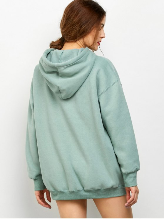 Kangaroo Pocket Fleece Lined Hoodie - LIGHT GREEN 2XL Mobile