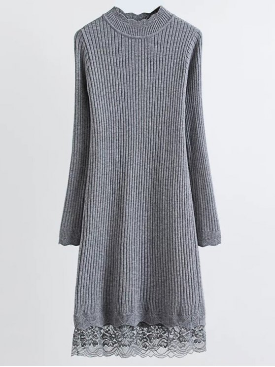Lace Trim Ribbed Jumper Dress - GRAY ONE SIZE Mobile