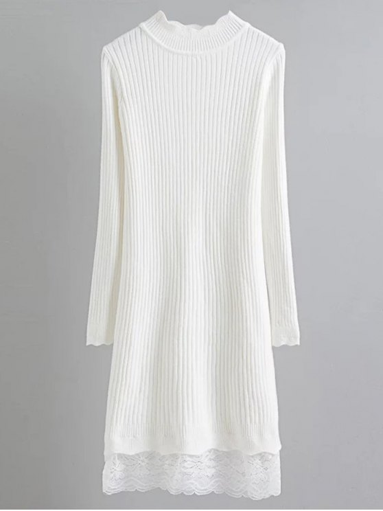 fashion Lace Trim Ribbed Jumper Dress - WHITE ONE SIZE