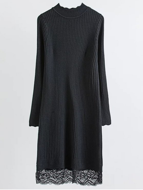 chic Lace Trim Ribbed Jumper Dress - BLACK ONE SIZE