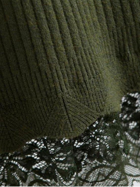 Lace Trim Ribbed Jumper Dress - BLACK ONE SIZE Mobile