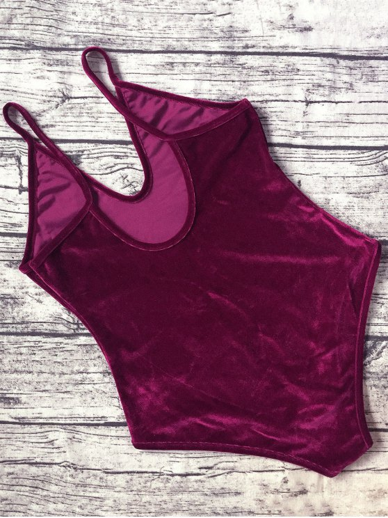 Plunging Neck Slip Velvet Bodysuit - WINE RED S Mobile