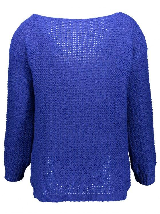 Open Stitch Scoop Neck Sweater - BLUE M Mobile