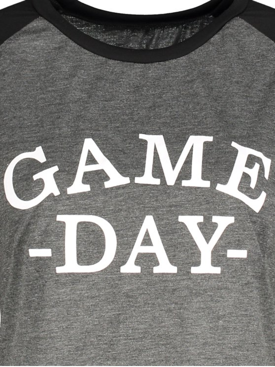 Game Day Baseball Tee - BLACK AND GREY M Mobile