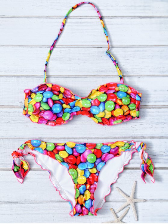Halter Candy Print Frilled Bikini - COLORFUL XL Mobile