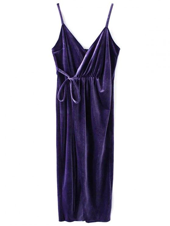 Slip Velvet Wrap Midi Dress - DEEP PURPLE S Mobile