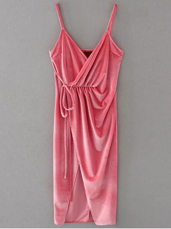 Slip Velvet Wrap Midi Dress - PAPAYA L Mobile