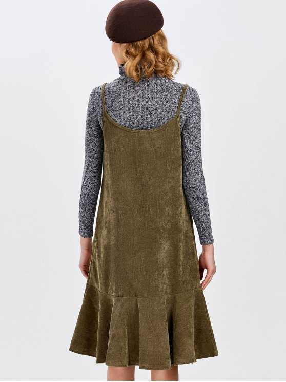 Ruffles Slip Corduroy Dress - DARK KHAKI L Mobile