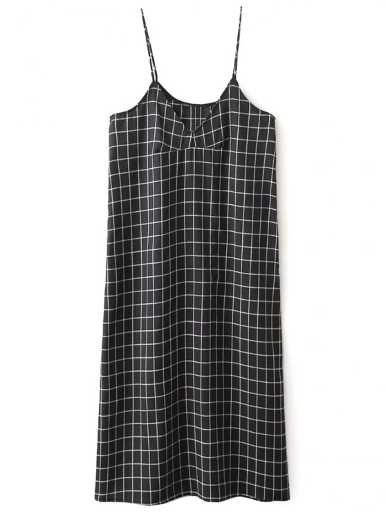 Shift V Neck Slip Plaid Dress - BLACK L Mobile
