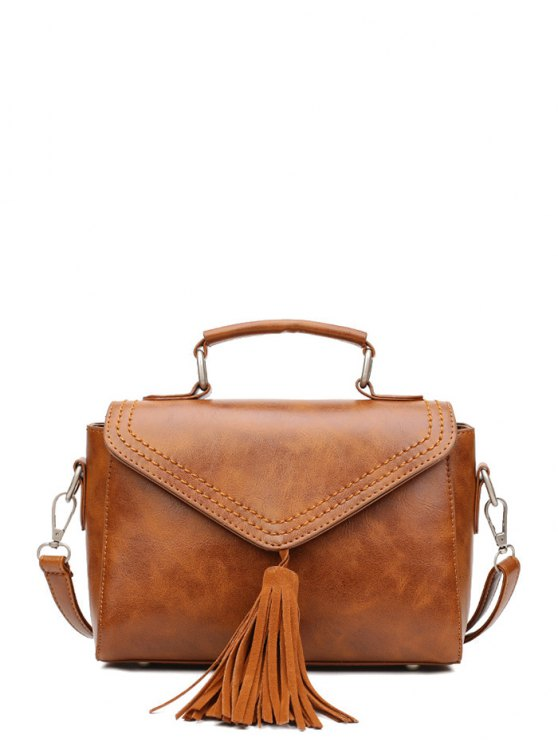 Tassel Faux Leather Handbag - BROWN  Mobile