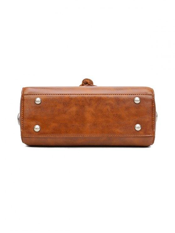 Tassel Faux Leather Handbag - GRAY  Mobile