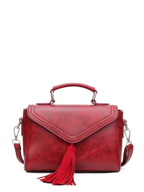 Tassel Faux Leather Handbag - WINE RED  Mobile