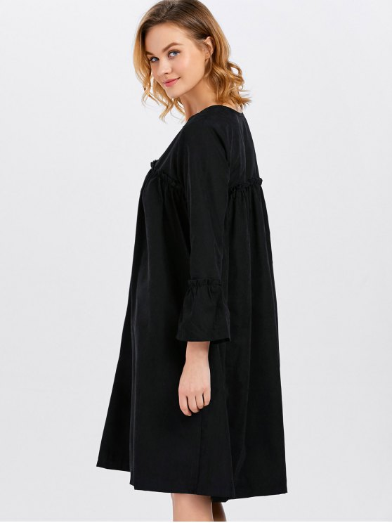 Long Sleeve Trapeze Dress - BLACK ONE SIZE Mobile