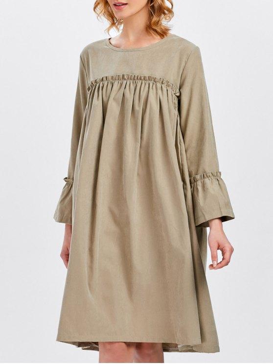 Long Sleeve Trapeze Dress - KHAKI ONE SIZE Mobile