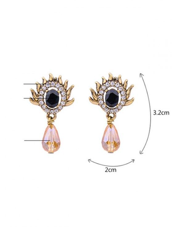 Rhinestone Teardrop Artificial Gem Earrings - GOLDEN  Mobile