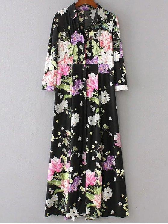 womens High Waist Floral Print Button Up Dress - BLACK S