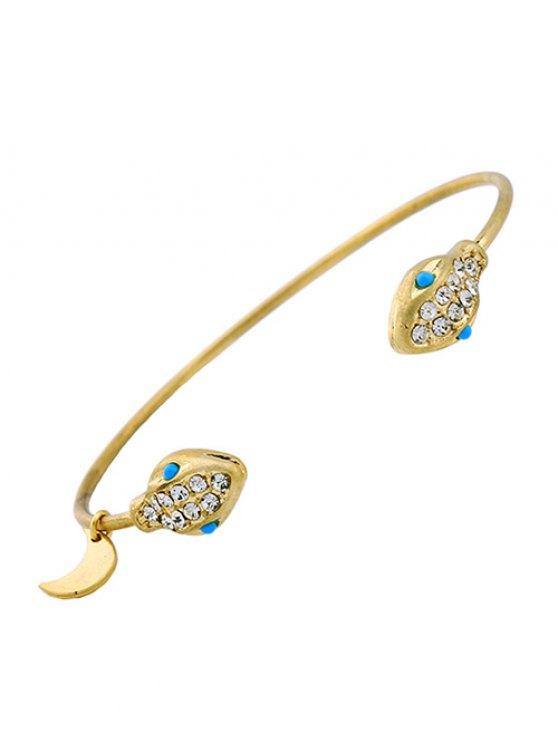 Snake Rhinestone Moon Cuff Bracelet - GOLDEN  Mobile