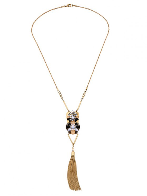 Geometric Fringed Rhinestone Sweater Chain - GOLDEN  Mobile