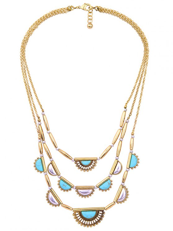 Geometric Artificial Turquoise Layered Necklace - GOLDEN  Mobile