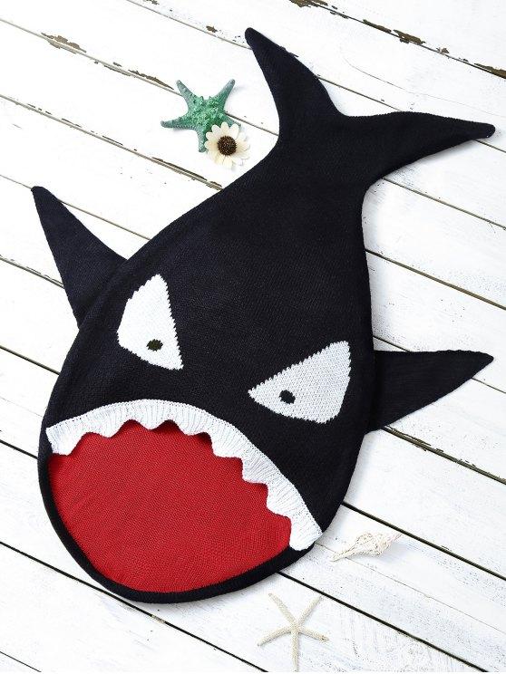Shark Shape Cartoon Baby Blanket Throw - BLACK  Mobile